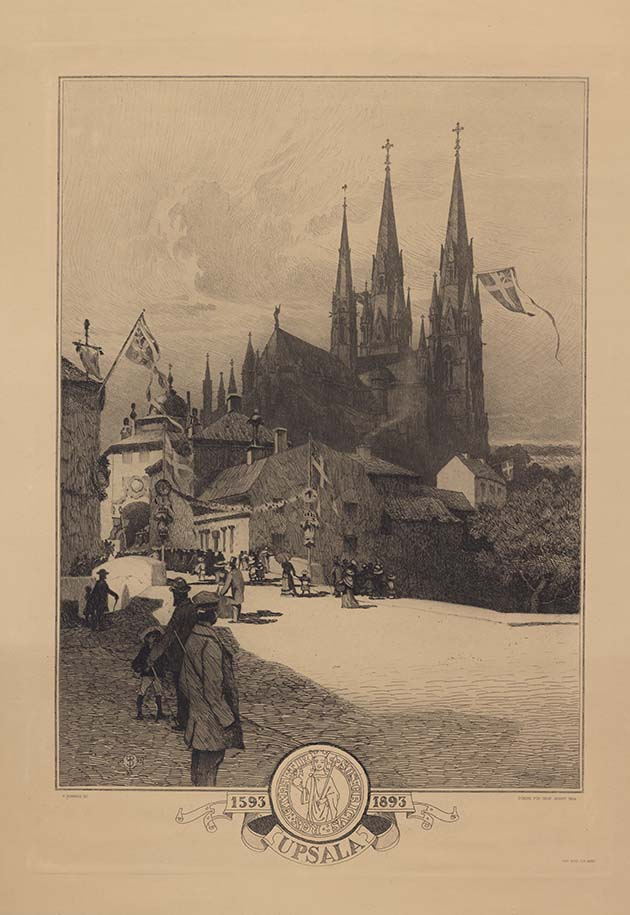 Old illustration of Östra Ågatan in Uppsala during the 300:th anniversary of the Church council in Uppsala. People are walking on the street, flags are waving from the church towers and buildings.