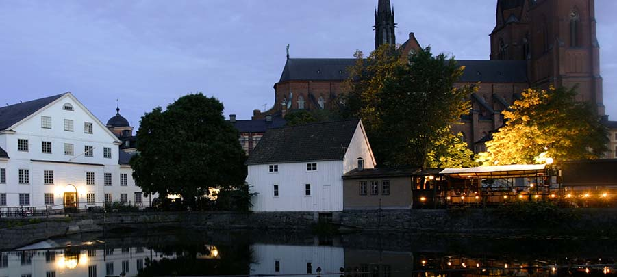 Decorative image: Uppsala Cathedral at night