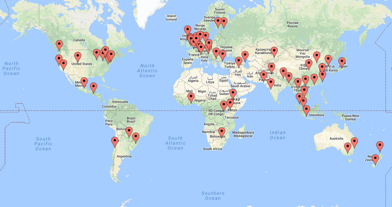 World map with all the locations for Global Alumni Day 2017 events marked.