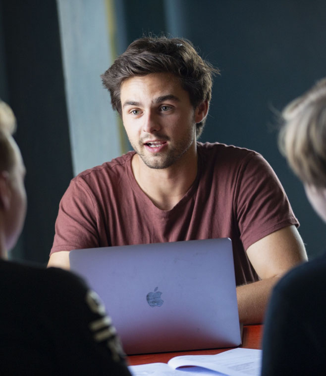 Image of a student being interviewed