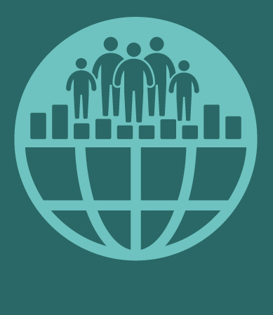 UILs logotype, a globe with a bar chart and people standing on top